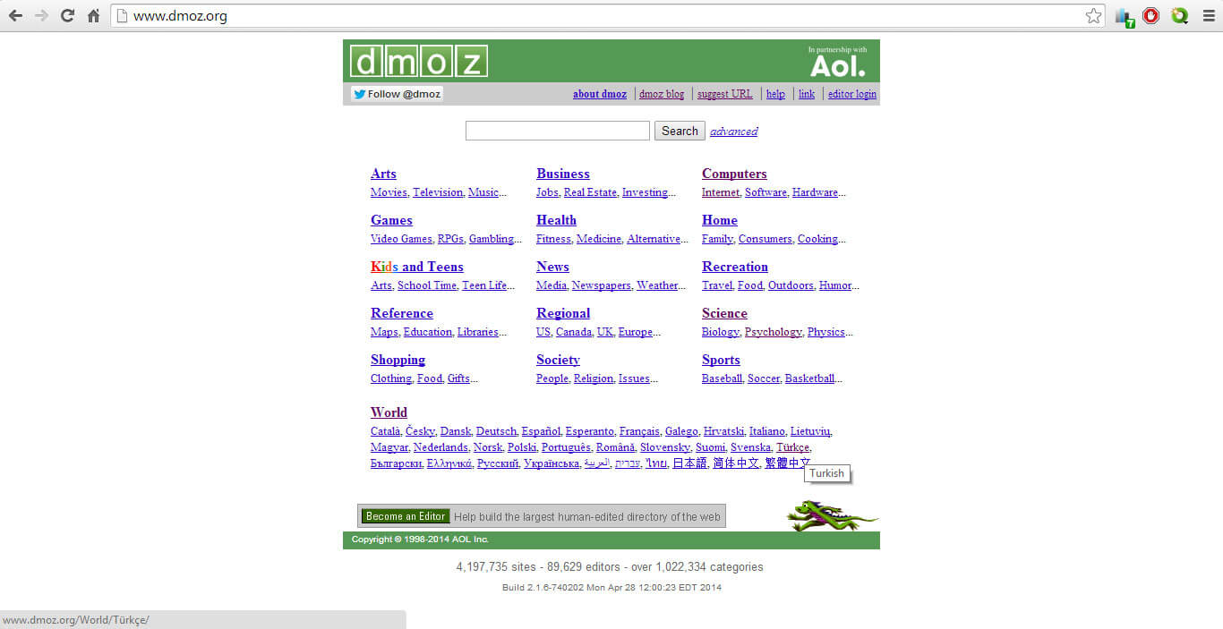 dmoz ana sayfası