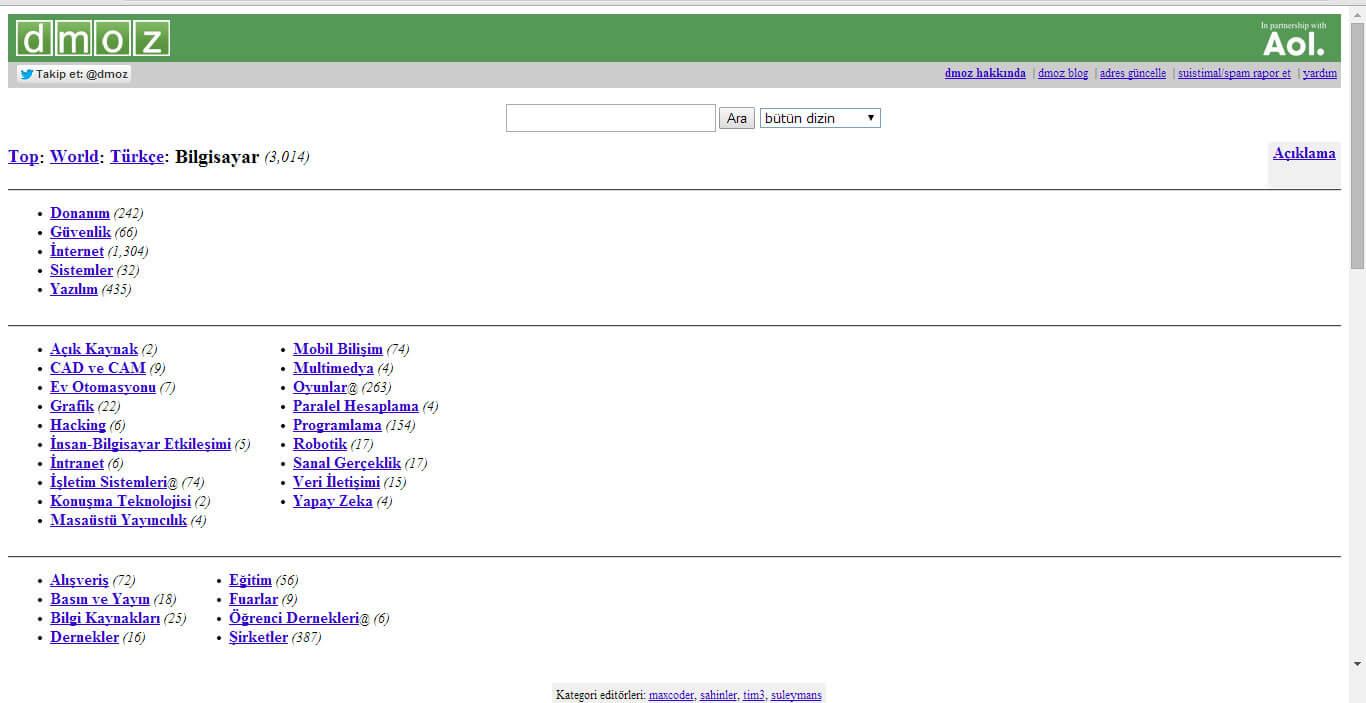 dmoz alt kategori ekranı